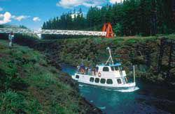 The MV Schwatka sails through historic Miles Canyon on the Yukon River.
