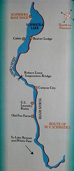 Map of the section of the Yukon River that you will see from the MV Schwatka.