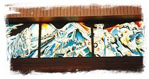 The stained glass mural at the Yukon Territorial Government building.